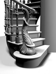 Резной заходной элемент лестницы, 3D модель